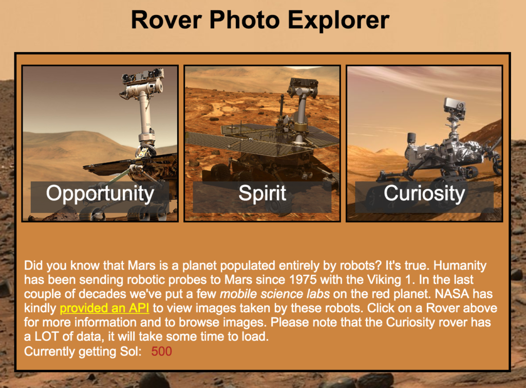 Image of the Rover Photo Explorer App